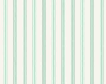 So Darling A287-1 Ticking Stripe Mint Lewis & Irene Patchwork Quilting Fabric