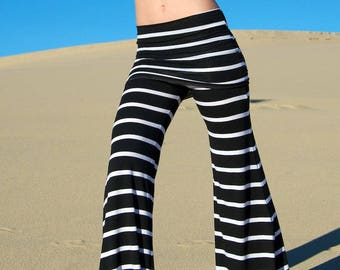 BLACK WHITE STRIPE  palazzo (wide leg, goucho) yoga lounge beach resort casual pants with fold over waist