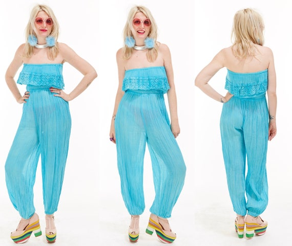 Vtg 80s INDIA Cotton GUAZE Bubble JUMPSUIT Onesie One Piece Resort Maxi Lace Strapless Hippie Boho Gypsy Festival Beach Semi Sheer Beach