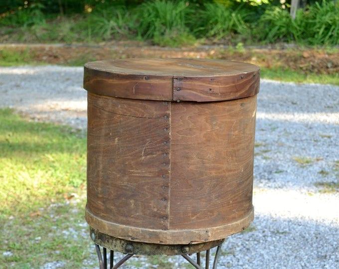 Vintage Wooden Hat Box Shaker Style Round Cheese Box Primitive Storage Large Round Wood Box PanchosPorch