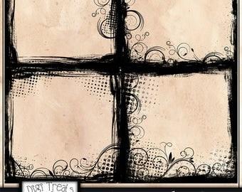 50% OFF 4 Grunge Swirls, Scrapbook Overlays, Grunge Swirls Photo Frames, Paper Border, Frames, 12x12, Instant Download.