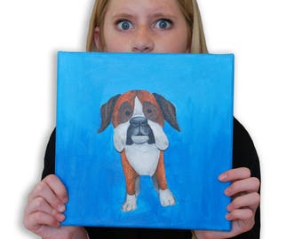 Boxer Dog Painting on 10 x 10 Canvas