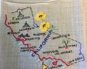 C1950s Vintage Embroidered Linen Hankie/California Hankerchief/State Hankerchief/California Hankie/Embroidered Hankerchief