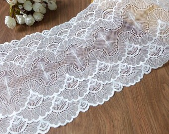 Ivory Scalloped Stretch Lace Trim for Bridal Headband, Wedding Garter, Lingerie