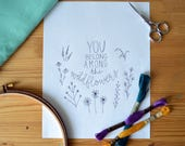 Embroidery Pattern, DIY Hoop Art, You Belong Among the Wildflowers, PDF Pattern, Tom Petty Music Lyrics, Wildflower Embroidery Project