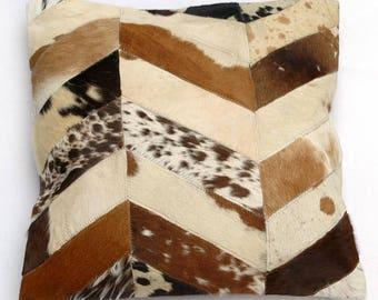 Natural Cowhide Luxurious Patchwork Hairon Cushion/pillow Cover (15''x 15'')a252