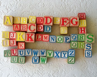 Vintage Wooden Alphabet Blocks-Set of Fifty-Two