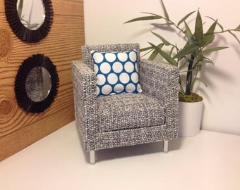"READY TO SHIP 1:6 scale Mid Century Modern Grey Pattern Chair, Retro,Dollhouse furniture, 12"" dolls"