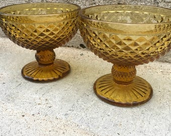 Lovely Pair of Amber Glass Compotes