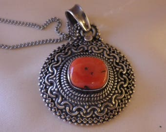 Vintage Ornate Sterling Silver Red Agate Pendant Silver Chain Necklace