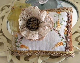Vintage Embroidery - Vintage Embroidered Pillow - Novelty Pillow - Mini Pillow