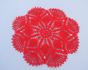 Small Red Doily, Crochet Coaster, Small Doily Set, Table decoration, christmas gift