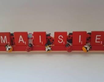 Personalised childrens name rack for bedroom doors desk keepsake