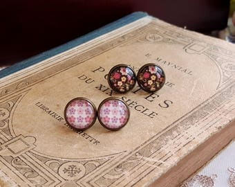 Romantic floral print Stud earrings Cabochon earrings Set of 2 pairs Gift under 10 Cottage chic flower earrings