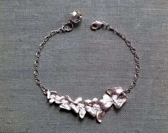 Silver flower bracelet Swarovski crystals bracelet Swarovski jewelry