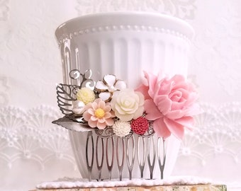 Silver Bridal comb Baby pink white and creamy white roses Pearl decorative comb Pink flower Shabby chic wedding comb