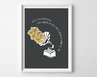 Neutral Milk Hotel Lyrics Print - Aeroplane over the sea