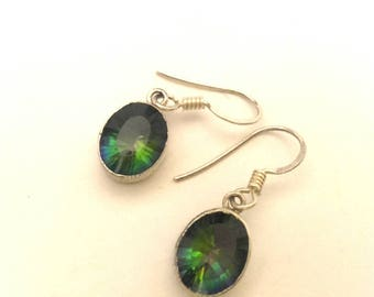 Vintage women Earrings Blue Green Mystic Topaz Facet Oval Charming Elegant