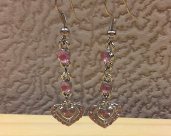 Vintage Women Long Earrings - Oriental Style - Pink Glass Stone - Silver Metal - Openwork