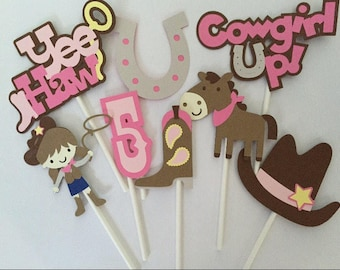24 Cowgirl Themed Cupcake Toppers; Cowgirl birthday; Cowboy party