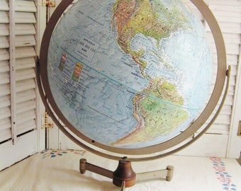Vintage Replogle World Globe Desktop Wood Metal Tripod Stand Mid Century 60s Library Office Decor Land and Sea Globe 12 inch