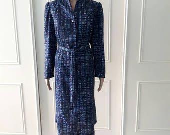 Daxon dress patterned dress 1980's vintage dress mid length dress blue ladies vintage dress size 20