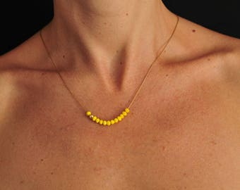 Gold plated 45 cms and minijoaillerie yellow Crystal Necklace