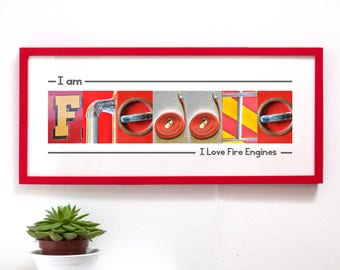 Personalised Fire Engine Childresn Namephrame