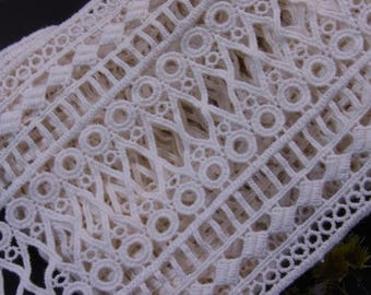 VTG Style Embroidery scalloped Fabric Tulle Mesh Net Lace Trim 12cm wide #614
