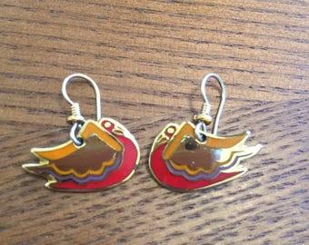 "Vintage Signed Laurel Burch Earrings ""WILD SWAN"" 22K Gold Plated"