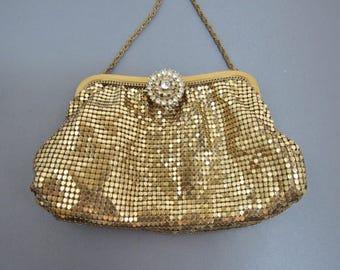 Whiting and Davis vintage gold mesh small handbag with rhinestone clasp!