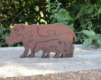 Wooden Hippo and Baby Puzzle