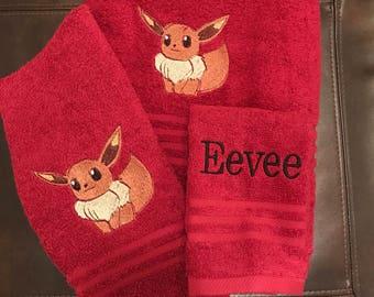 towel set with Pokémon characters symbols symbols/ Eevee/ Pikachu/squirtle/weedle