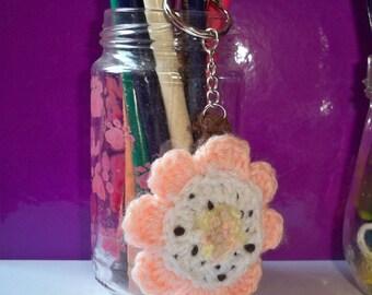Flower key ring made of crocheted