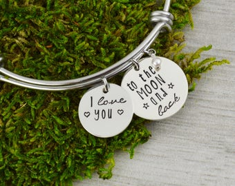 I Love You To The Moon And Back  Adjustable Bangle Bracelet - Stacking Bangle