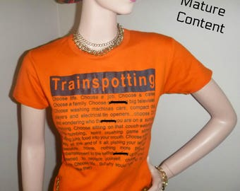 90s TRAINSPOTTING T-Shirt Orange Black Train Spotting Tee Shirt Words Top Vintage Choose Life Renton Cosplay Costume Comic Con Festival Rave