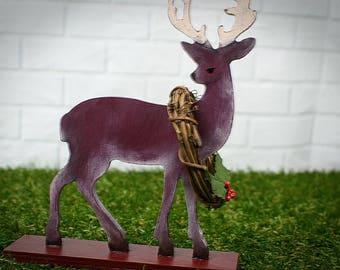 Wood Deer, Deer Decor, Cabin Decor, Deer With Wreth, Deer Figurine, Country Deer, Rustic Deer, Farmhouse Deer, Hunting Decor