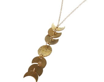Brass Moon Phase Dangle Necklace; Phases of the Moon Necklace; Brass Necklace; Hammered Moon Necklace; Celestial Jewelry; Celestial Earrings