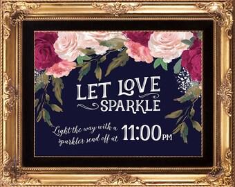 sparkler send off sign, custom sparkler sign, burgundy sparkler sign, printable sparkler sign, navy light the way sign, 8 x 10, YOU PRINT