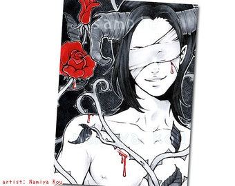 Black and White ACEO Print, Monochrome Artwork with Red Roses, Demon Boy Fantasy Art Print, Inktober Marker Drawing, ATC Prints