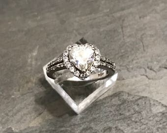 Size 7, Vintage handmade sterling silver round cut crystal ring with heart cut crystal details, stamped 925, engagement ring