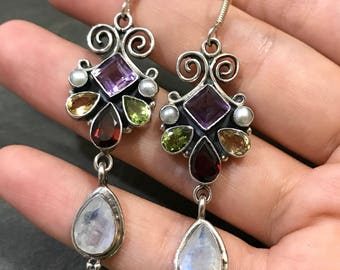 Vintage Sterling silver handmade earrings, solid 925 silver with citrine, sapphire, peridot, amethyst, ruby inlay and teardrop shaped moonst