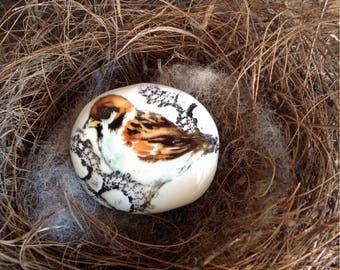 Ceramic Bird Brooch - Sparrow, Handmade Handpainted, Lace, Old World Charm