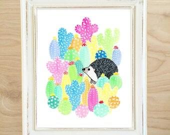 Hedgehog Print (hedgehog art - hedgehog gift - animal art - hedgehog painting - hedgehog cactus - cactus print - cactus art - cactus decor)