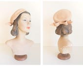 vintage blush pink wool beret with bow / vintage pillbox hat / Henry Pollack RITZ