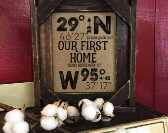 FRAMED House Warming Gift | Realtor Gift | Burlap Print | GPS Home Location | Lattitude Longitude | Christmas  Gift | New Home | BarnWood