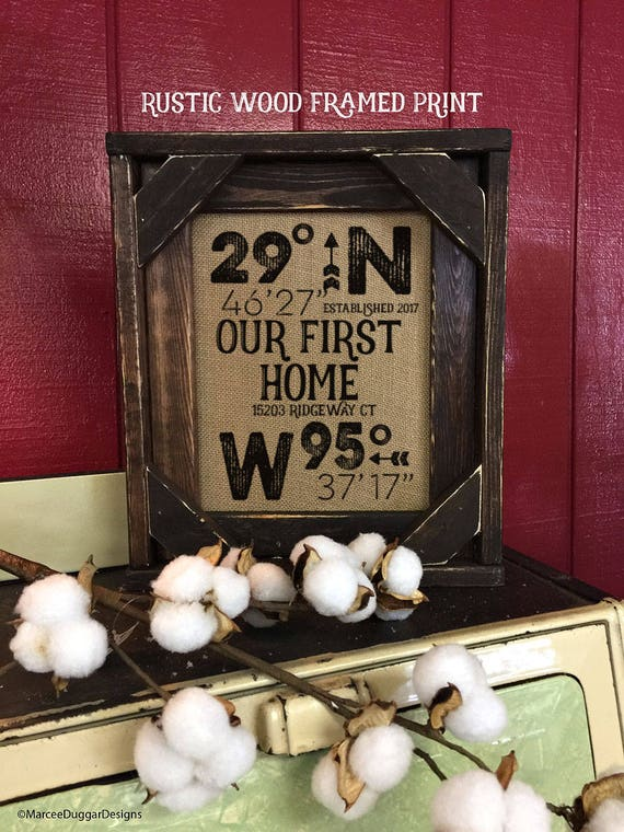 FRAMED House Warming Gift | Realtor Gift | Burlap Print | GPS Home Location | Lattitude Longitude | Christmas  Gift | New Home | BarnWood