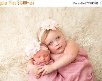 SALE Peach Flower Headband, Peach Headband, Flower Headband, Baby Girl Headband, Baby Headband, Photo Prop, Mae Headband, Sister Set