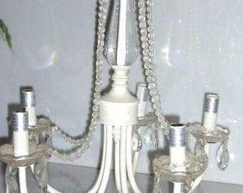 21817 ---  5 Arm CHANDELIER w/ CRYSTAL Pendulums Candellabra Shabby Chic Light Metal Frame Glass Beads