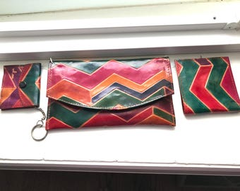 Vintage Brightly Colored Embossed Leather Clutch/Wallet/Coin Purse